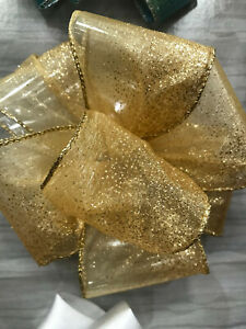 Luxury Wired-Edged RIBBON Extra Wide 6.3cm/2.5in Gold Sparkly Organza
