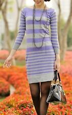 Unbranded Boat Neck Casual Striped Dresses for Women