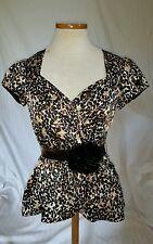 Nanette lepore blouse sz 0 brown, black silk with velvet ribbon belt nwot