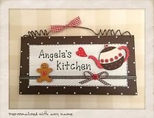 Kitchen Sign PERSONALISED WITH ANY NAME Wood Hanging Plaque Picture HANDMADE