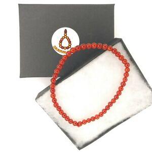 Elegant Genuine Gemstone 4mm Bracelet elastic cord Aqeeq Red Agate Valentine 943