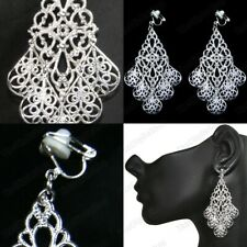 CLIP ON EARRINGS 925 silver plated ANTIQUE STYLE 7cm big FASHION comfy clips