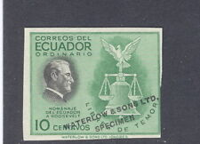 Ecuador 1948, 10c F.D. Roosevelt, trial color, WATERLOW SPECIMEN, #509