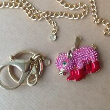 New Pig In wellies boots swarovski Necklace Keychain Pendant BUTLER & WILSON