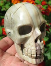 10.9OZ Fantastic Natural Australian Print Stone Jasper Crystal Carving Art Skull