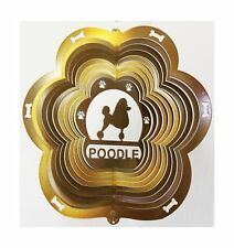 """Stainless Steel Poodle Dog 12"""" Wind Spinner, Copper Patio Garden Decor Chimes"""