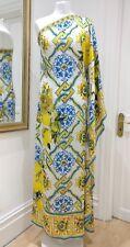 Dolce & Gabbana Majolica And Lemon-print One-shoulder Gown Kaftan Silk Dress 40