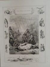 LITHOGRAPHIE DE VICTOR ADAM 19ème PROVERBES  VENTRE AFFAME N' A PAS D' OREILLES