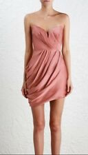 Zimmermann Sueded Drape Bodice Dress | Rose Pink Bonded Strapless | $650 RRP
