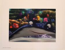 "Disney Art Print Lithograph 11""x14"" Finding Nemo Fish School Dory Manta Ray"