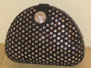 Expressions NYC Evening Clutch Handbag, Black with sequins, BRAND NEW