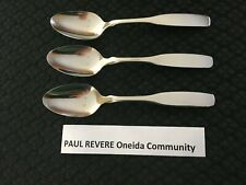 Lot of 3 Paul Revere Oneida Community Stainless Steel Teaspoons Free Shipping