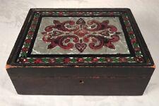 19th C. Antique Folk Art Box Pennsylvania Reverse Painted And Tinseled Top