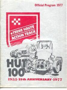 Terre Haute Action Track Hut 100 Auto Race Program 1977-USAC midget auto race-VG