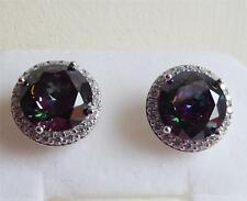 SIMULATED MYSTIC TOPAZ & DIAMONIQUE 8.4ct STERLING SILVER STUD EARRINGS NEW QVC
