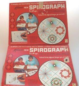 2 Vtg 1967 Spirograph No 401 Kenner Drawing Craft Art Sets Missing Pens (B50)