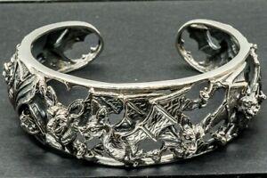 Bat 925 silver bracelet bangle biker Gothic vampire goth pagan nocturnal flight