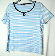 LIGHT BLUE WHITE LADIES CASUAL TOP STRETCHY BM CASUL SIZE L STRETCHY