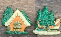 2 VINTAGE AISA MOLDED CELLULOID PLASTIC CHRISTMAS ORNAMENT WALL HANGING MEXICO