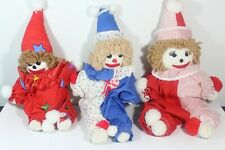 "Lot of 3 Hand Made Clown Rag Dolls 18""-22"""