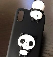 For iPhone X - SOFT SILICONE RUBBER SKIN CASE COVER 3D BLACK WHITE PANDA BEARS