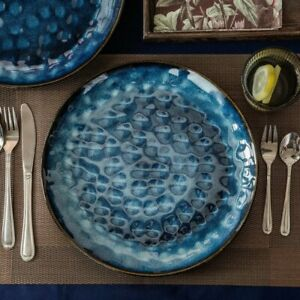 Vancasso Star 12pcs Set Flat Plates Dinner Vintage Ceramic Blue (28*28*2.5cm)