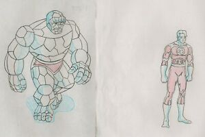 Marvel Fantastic Four Prod Drawing SET cel 1994 AnimatedSeries Thing JohnnyStorm