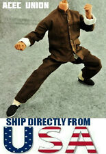 "1/6 Long Sleeves Kung Fu Costume Suit Set BROWN For 12"" Hot Toys Male USA SELLER"