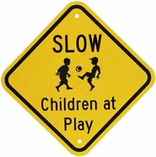 "SmartSign Aluminum Sign, Legend ""Slow - Children at Play"" with Graphic, 12"" squa"