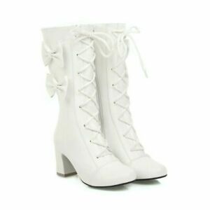 Women Block High Heels Cute Bows Lolita Ankle Boots Girl Lace Up Zip Boots Shoes