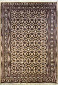 Rugstc 6x9 Bokhara Jaldar Beige Area Rug, Hand-Knotted,Geometric with Silk/Wool