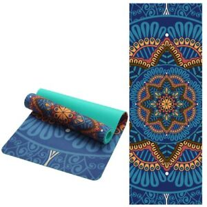 6MM Lotus Pattern Suede TPE Yoga Mat Pad Non-slip Slimming Exercise Fitness