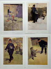 Set of 4 Lawson Wood Prints 'BRIBERY/A GREAT GAME/THE ARM OF THE LAW/END OF PLAY