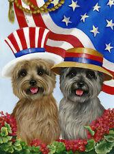 "Precious Pet Garden Flag - Cairn Terrier USA Flag 12"" x 18"" ~ Charity!!"