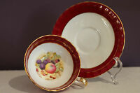 AYNSLEY ENGLAND TEA CUP AND SAUCER RED WITH GOLD TRIM SIGNED D. JONES
