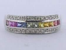 R167 Genuine 9K White Gold Natural Fancy Sapphire & DIAMOND Eternity Ring size N