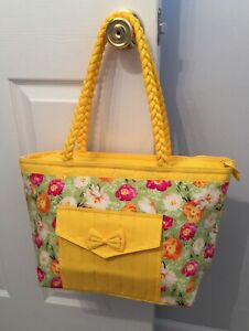 NaRaYa Large Tote Bag Yellow With Flowers ~ Perfect For Travel! Folds Flat!