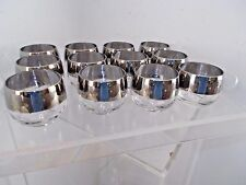 12 Hollywood Silver Rimmed Whiskey Man Men Mid-Century BAR WARE Drinking Glasses