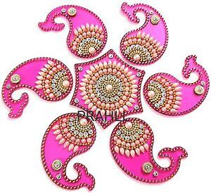Rangoli Reusable Acrylic Pink Rangoli Of Mango Shape for Floor & Wall Decoration
