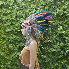 Rainbow Indian Headdress Chief Real Feathers Bonnet Native American Fancy Party
