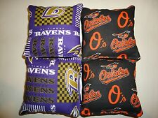 8 Cornhole Bean Bag Tailgate Toss Set Baltimore Ravens & Orioles (Print 2 sides)