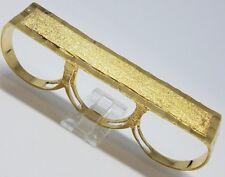 GOLD multi 3 finger mens ring knuckle bar 14k YELLOW 12 9 10 11 13 14  14.5g