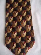 "Robert Talbott Best of Class for Wilger Red Gold Brown Artsy Design Silk Tie 58"""