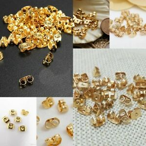 Earring Post Plug Back Butterfly Stopper Gold Plated Finding Jewelry Accessory