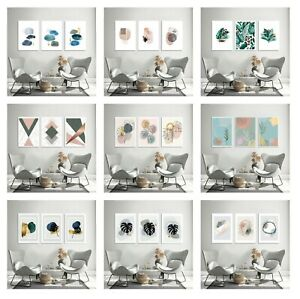 Set of 3 Abstract Wall Art Prints Living Room Bedroom Posters A3 WHITE FRAMED