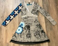 Desigual Gray Blue Floral Dress XL NEW NWT MSRP $144 Cotton Polyester