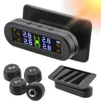 Solar Auto TPMS Reifendruckkontrollsystem Wireless LCD mit 4 Externe Sensoren DE