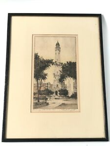S CHESTER DANFORTH Original Etching Old Chicago Water Tower Signed 78/200 Framed