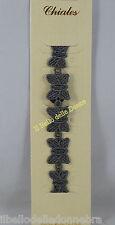 **-50%* CHIALES Bracciale in cotone GRIGIO SCURO Ricamo Farfalla stile cruciani