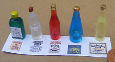 1:12 Scale 5 Assorted Bottles With Labels Dolls House Miniature Pub Bar Set 1